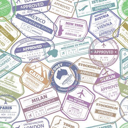 Grunge travel stamp seamless pattern. Passport visa international arrived stamps. USA, France and Italy airport cachet frames. Traveling visa stamp vector background