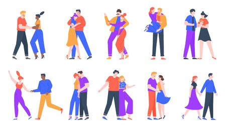 Young romantic couples in love. Happy boyfriend and girlfriend romantic date. Dancing, taking selfies and decided to get married couples. Lovely isolated vector illustration icons set Çizim