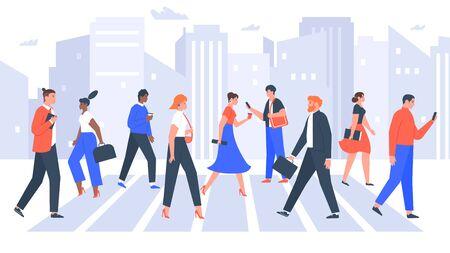 Business people cross road. People in city crosswalk, office workers walking on crowded. Businessman and businesswoman crosswalk. Workers crossing city street vector illustration Vetores