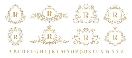 Luxury monogram. Vintage ornamental decorative monograms, retro luxury golden wreath emblem and baroque heraldic wedding frame. Luxurious whiskey or boutique emblem isolated vector icons set Ilustrace