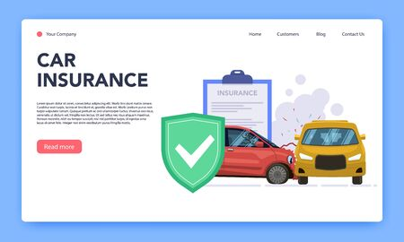 Vehicles insurance. Responsible car insurance mobile application from damage and accident crash, car insurance contract service vector web landing page flat template