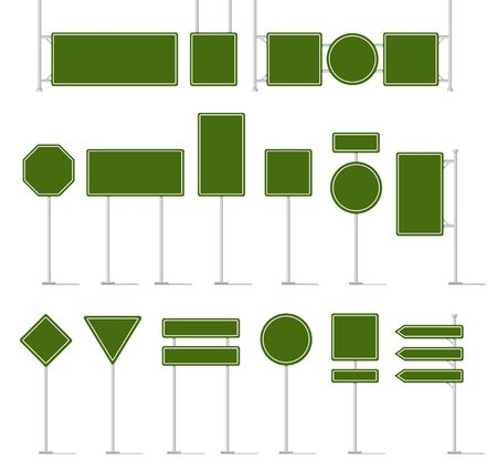 Road traffic signboard. Green blank traffic signs, empty direction sign board mockup, street location arrow and warning highway square text panel and billboard vector isolated icon in different shapes