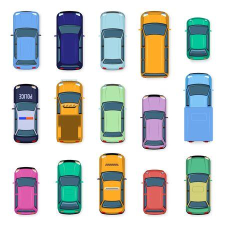 Stadtauto Draufsicht. Stadtverkehr Autos Dach, Straßenfahrzeug Taxi, Polizei, Kleinwagen und Auto über der Ansicht. Autotransport isolierte Vektor-Illustration-Set. flache Fahrzeuge von oben
