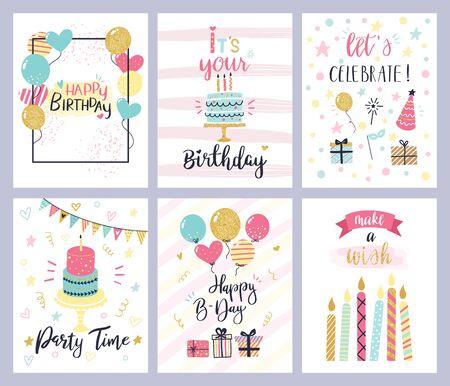 Kaarten voor verjaardagsfeestjes. gelukkige verjaardag pastel viering ansichtkaarten, uitnodiging met kaars, gouden ballonnen en confetti, cake. kinderen vrolijke vakantie flyers vector sjablonen