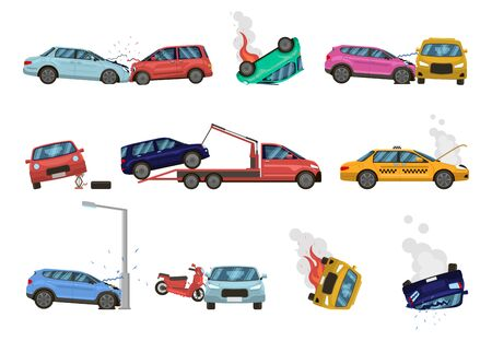 Vehicle damage. Transport crash and dangerous damage, broken, fractured vehicles, different unpleasant situations on city road vector illustration set. damaged cars assistance, insurance icons
