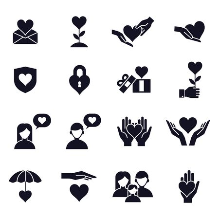 Love and heart icons. Love couple, family, children and romantic relationships signs, people lovers, care and fondness vector isolated symbols set. happy valentine day romantic pictograms