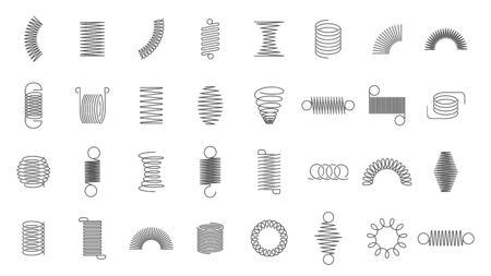 Bobines de ressort. Ressort en spirale en métal, silhouette de tourbillons de bobine de moteur de voiture, ressorts en fil, bobines flexibles métalliques et ligne d'icônes vectorielles isolées en spirale incurvée en acier. hélice en acier noir, symboles de suspension Vecteurs
