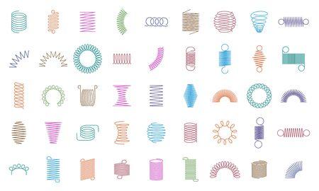 Federspulen. Metallspiralfeder, Automotorspule wirbelt Silhouette, Drahtfedern, metallische flexible Spulen und Linie Stahl gebogene Spirale isolierte Vektorsymbole. Farbe Stahlspirale, Aufhängesymbole Vektorgrafik