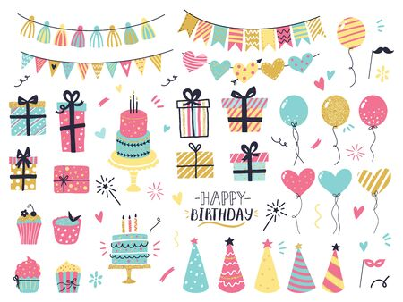 Party celebration hand drawn elements. Greeting birthday party card details, colorful balloons, garlands, cupcakes, confetti and cakes with candles. Greeting, invitation card vector isolated set Иллюстрация