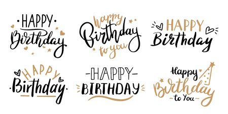 Happy birthday celebration concept. Greeting birthday party lettering with celebration hand drawn elements, decorative invitation card vector set. anniversary black and gold handwritten inscription Иллюстрация