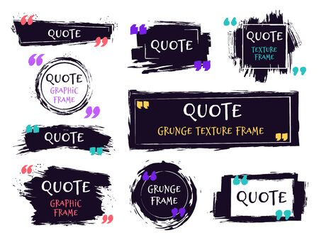 Quote brush text box. Grunge textured label, sketch brush template, hand drawn rough speech bubbles. Remark label frames vector isolated icons set. black ink grungy framing for motivation message