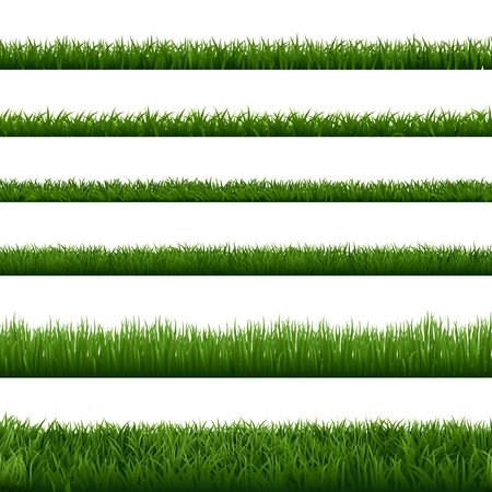 Realistic grass borders. Green garden herb plant, field landscape fresh lawn element, lush meadow gardening foliage vector isolated seamless border set. natural floral vegetation summer, spring frames