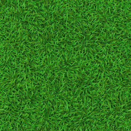 Realistic seamless green lawn. Grass carpet texture, fresh nature covering pattern, garden green grass and herbs meadow vector background. soccer, football field texture