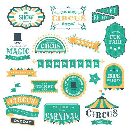 Circus vintage badges. Magic circus carnival retro signs, circus show invitation elements and festival fair event vector illustration icon set. Circus carnival, entertainment show sticker illustration  イラスト・ベクター素材