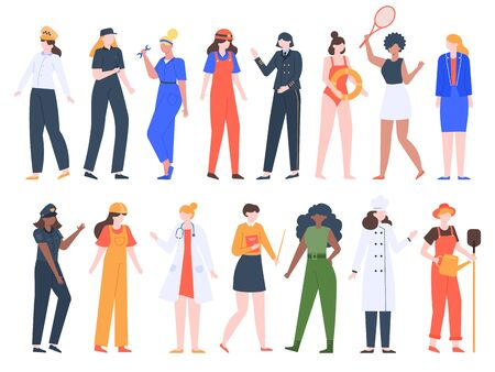 Women job professions. Female workers, lady professional uniform, doctor, policeman, driver and builder workers isolated vector illustration set. People woman job, girls group work teacher, cook Ilustración de vector