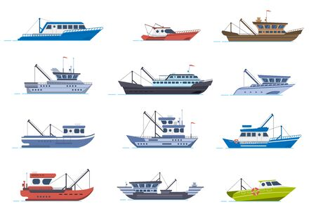 Fisherman boats. Fishing commercial ships, fisher sea boat for ocean water, shipping seafood industry boat isolated vector illustration set. Sea fishing, ship marine industry, fish boat Illustration