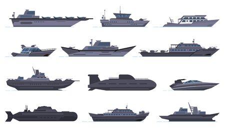 Militärische Schiffe. Kampfboote, Raketenschiff, Sicherheitsboote, moderne Kriegsschiffe und U-Boote, Armeewaffen-Schlachtschiffe, Vektorsymbole gesetzt. Militärboot und Schiff, Kraftschiffabbildung