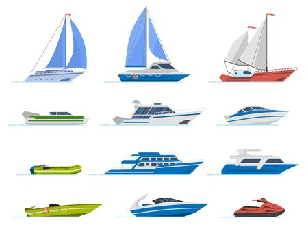 Travel yacht and powerboat. Cruise boats, luxury yacht steamer and speed boat, transportation for ocean water isolated vector illustration set. Yacht marine, speedboat and rubber motorboat