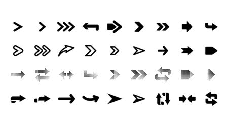Web arrows. User pointer arrow sign, web interface pictograms, arrows collection for mobile apps, ui and web design, arrowheads isolated vector set. Arrow cursor pointer, user app icon illustration 向量圖像