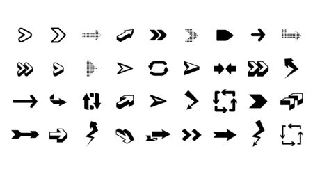 Graphic arrows. Interface graphic icons, arrowhead direction pointers isolated vector. Dot and curve arrow, internet ui illustration