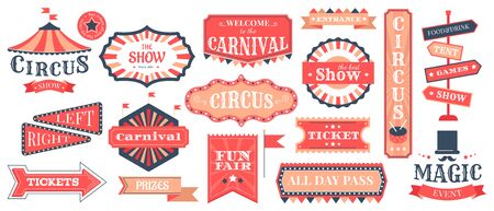 Circus event labels. Carnival magic show elements, vintage fair frames and circus signs, retro festival templates vector illustration set. Circus entertainment and carnival, show announcement  イラスト・ベクター素材