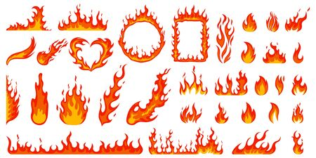 Cartoon campfire. Fire flames, bright fireball, heat wildfire and red hot bonfire, campfire, red fiery flames isolated vector illustration set. Animated form and square, fireball and flame Ilustração