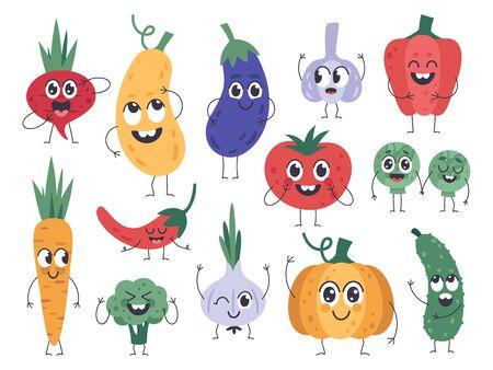 Pflanzliche Maskottchen. Fröhliche Karotte, süße Gurken- und Kürbisfiguren, lustiges vegetarisches Essen-Maskottchen, Comic-Gemüse-Emotionen-Vektor-Icons gesetzt. Gurken- und Kürbis-, Brokkoli- und Tomatenillustration Vektorgrafik