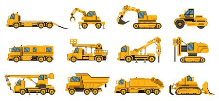 Construction trucks. Equipment building trucks, excavation crane truck, tractors and bulldozers, large engine isolated vector illustration set