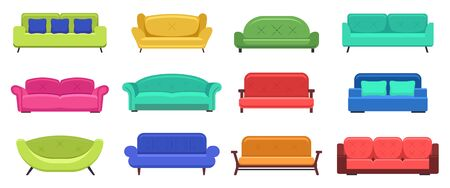 Modern sofas. Comfortable modern apartment couch, cozy sofas, house couch furniture, domestic sofas lounge. Vector isolated illustration set. Couch and sofa furniture, modern comfortable illustration Ilustracje wektorowe