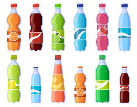 Soda drink bottles. Soft drinks in plastic bottle, sparkling soda and juice drink. Fizzy beverages isolated vector illustration icons set. Beverage drink bottle, water soda juice collection Ilustración de vector