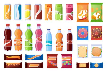 Vending machine snack. Beverages, sweets and wrapper snack, soda, water. Vending products, machine bar snacks vector illustration icons set. Snack box, bottle and lunch in wrapper