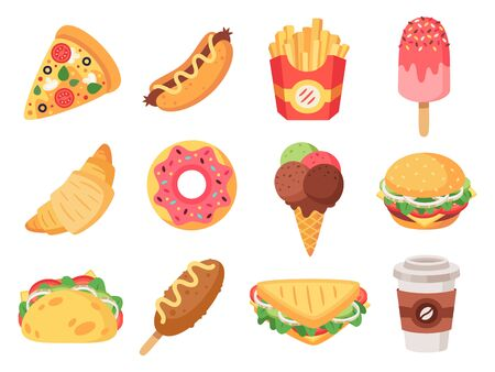 Fast food. Junk food and snacks, hamburger, taco, french fries, donut and pizza high calorie food. Doodle fast food vector isolated icons set. illustration of hotdog and croissant, snack and sandwich