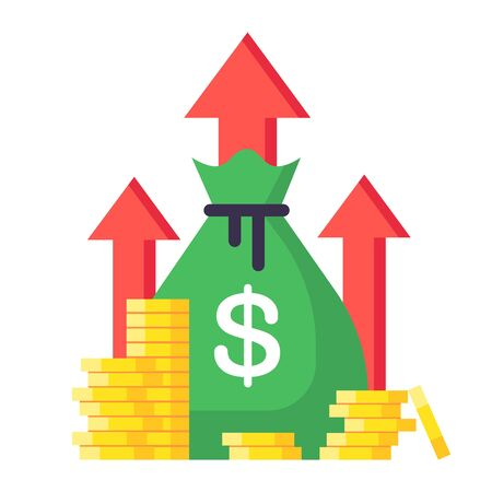 Income increase. Financial strategy, high return on investment, budget balance isolated vector illustration. Market increase and income, business growth profit