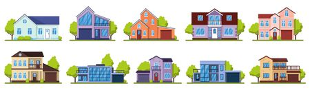 Suburban houses. Living real estate house, modern country villas. Home facade, street architecture vector illustration icons set. House building, home estate suburban, architecture living illustration Vetores