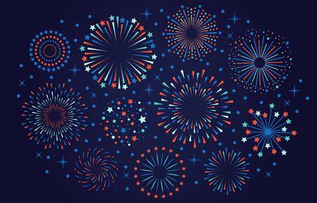 Celebration 4th July USA fireworks. Festival firecracker, colorful fireworks explosions, carnival party firework vector illustration. Firework celebration explosion, explosive firecracker