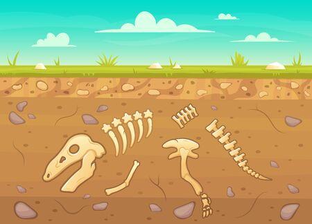 Cartoon reptile bones ground. Archeology buried bones game underground, dinosaur skeleton in soil layers vector background illustration. Reptile archeology, ancient extinct prehistory