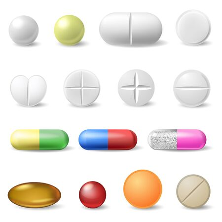 Realistic medical pills. Medicine healthcare vitamins and antibiotics capsule, pharmaceutical painkiller drugs isolated vector icons set. Antibiotic medical pharmaceutical, white pharmacy illustration