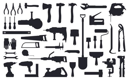 Tools silhouette. Working construction and repair tools, ax, shovel and drill black silhouettes isolated vector illustration icons set. Silhouette ax and equipment, trowel and shovel