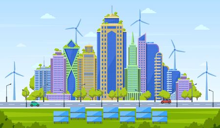 Eco city concept. Smart city landscape, urban modern cityscape, eco friendly skyscrapers with alternative energy sources vector illustration. Architecture building skyscraper, green friendly landscape