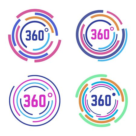 Round 360 degrees signs. Circle diagram, 360 degrees angle panorama, circular 360 degree views isolated vector illustration icons set. Circular colored effect, gaming 3d view sign colored