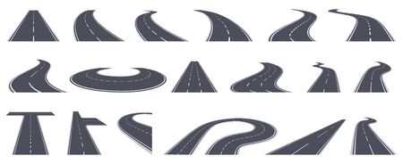Road perspective view. Curving highway roads, bend asphalt roads in perspective. Turn town urban roads isolated vector illustration set. Road highway, asphalt to transportation, line view turn
