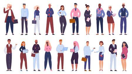 Groupe d'entreprises multiculturel. Équipe d'employés de bureau de personnes, ensemble d'illustrations vectorielles isolées de la communauté des collègues d'affaires multinationales. Équipe commerciale multiculturelle, homme d'affaires et femmes Vecteurs