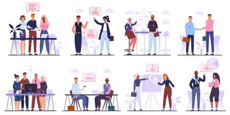 Office workers team. Business meeting, brainstorming and corporate conference, business team characters group isolated vector illustration set. Teamwork meeting and conference, negotiation and deal Ilustrace