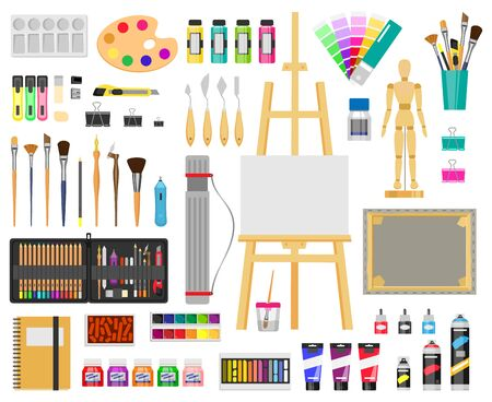 Paint art tools. Artistic supplies, painting and drawing materials, brushes, paints, easel, creative art tools vector illustration icons set. Paint drawing brush, education artistic tool