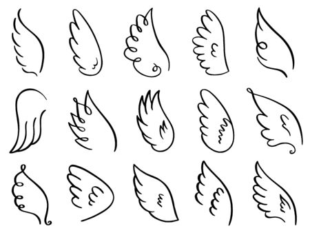 Doodle wings. Hand drawn angel flight feather, elegant angel wings, heaven angels wings sketch vector illustration icons set. Angel bird and dove winged, wing drawn tattoo contour