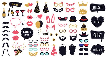 Photobooth party props. Funny face masks, glasses, crown, beard and bunny ears, celebration day speech bubble frames vector illustration set. Masquerade costume collection, beard and haircut