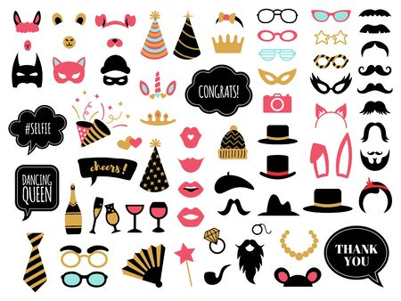 Photobooth accessories. Wedding day celebrations props, glasses, mustache and bunny ears, photo props decoration vector illustration symbols set. Photobooth moustache, congrats tag and champagne