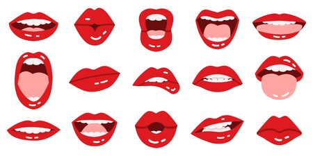 Cartoon lips. Girls red lips, beautiful smiling, kissing, show tongue, red lips with expressive emotions isolated vector illustration icons set. Mouth lipstick kiss, red glamour collection