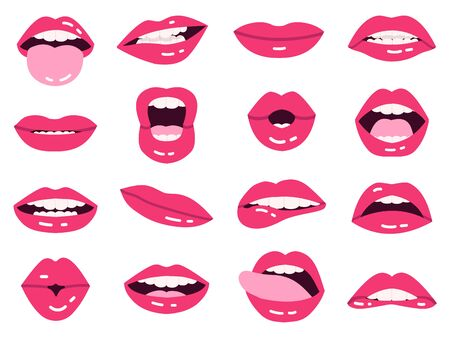 Smile cartoon lips. Beautiful pink lips, kissing, show tongue, smiling with teeth expressive mouth, girls lips isolated vector illustration set. Hot impudent and pink lips lady set Stockfoto - 147313088