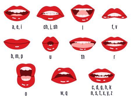 Pronunciación de sonido de boca. La animación de los fonemas de los labios, las expresiones de los labios rojos que hablan, la sincronización del habla de la boca pronuncia el conjunto de símbolos aislados vectoriales. Habla en inglés de la boca, habla el sonido y habla la ilustración.